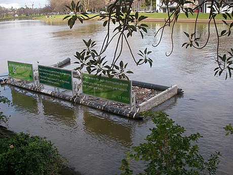A litter trap catches floating waste in the Yarra River, east-central Victoria, Australia Litter trap.jpg