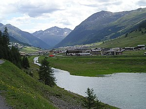 Livigno -  Livigno  from the confluence of the Aqua Granda with the Gallo Lake.
