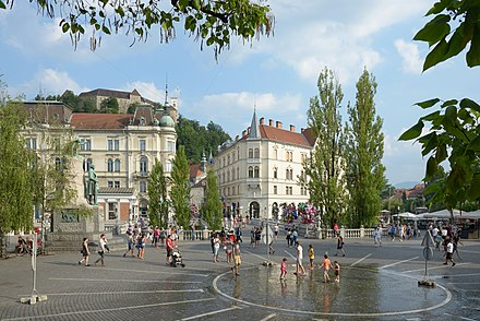 La piazza Prešeren in centro Lubiana