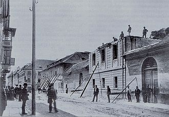 The 1895 earthquake destroyed much of the city centre, enabling an extensive renovation program. Ljubljana in 1895 (3).jpg