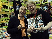 Lloyd kaufman promoting getting lucky.JPG