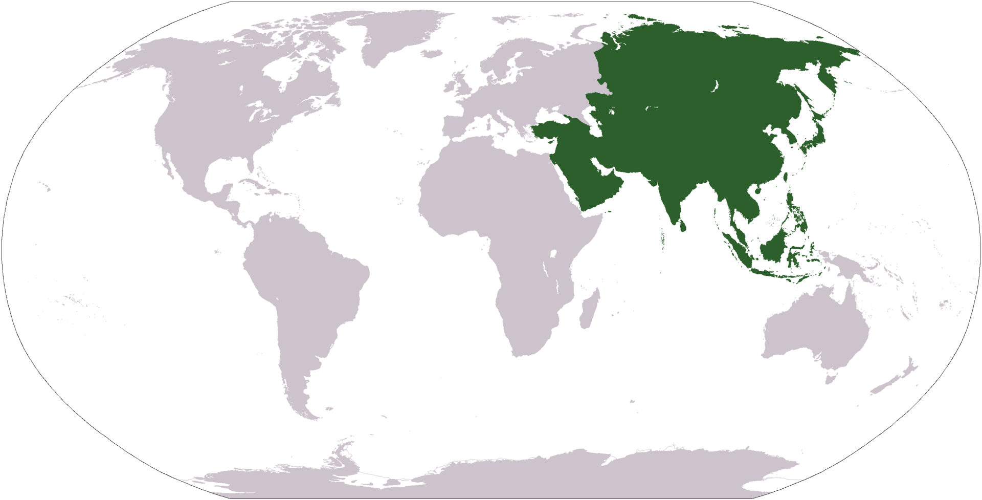 World map with Asia highlighted in green