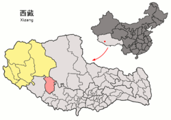 Location of Coqên County within Tibet