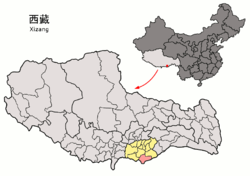 Location of Cuona County (red) within Shannan City (yellow) and the Tibet A.R.