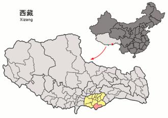 Cona County - Image: Location of Cuona within Xizang (China)