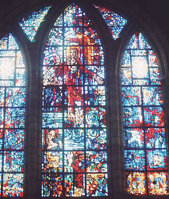 Anglican Diocese of Cape Town - Christ in Triumph over Darkness and Evil, stained glass window by French artist Gabriel Loire in memory of Earl Mountbatten of Burma, at St. George's Cathedral, Cape Town.