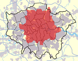 London postal district - Greater London split into the London boroughs superimposed with the London postal district (red)