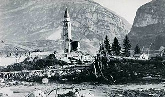 Vajont Dam - The 'bell tower' that remained standing at Longarone. The rest of the church building was swept away, as were almost all of the other structures in the village.