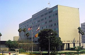 Los Angeles Police Department - The former Police Administration Building (Parker Center) at 150 N. Los Angeles St. in 1976
