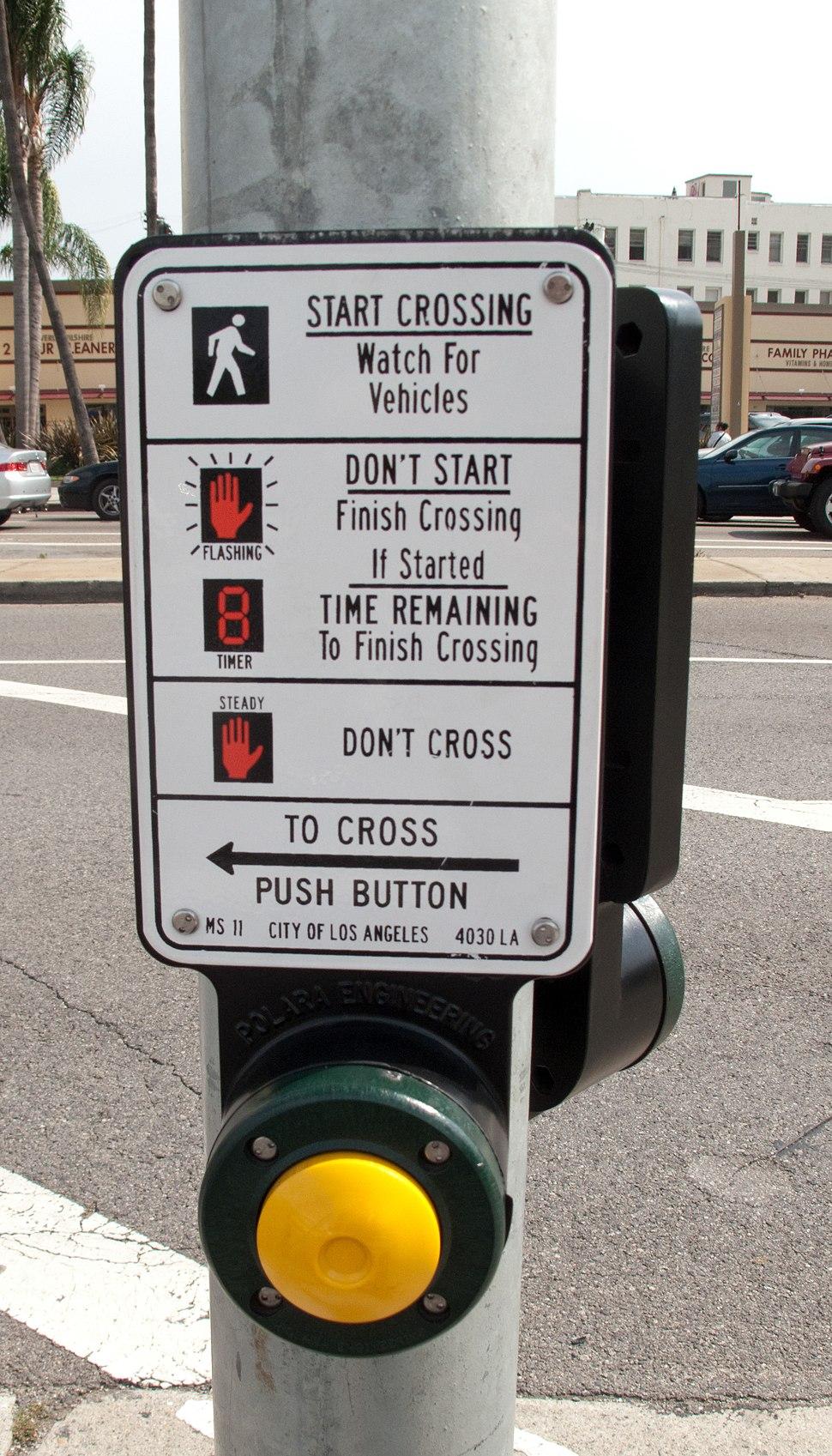Los Angeles pedestrian crossing button