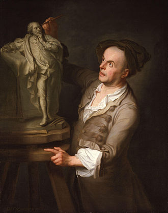 Louis-François Roubiliac - Portrait of Roubiliac making the finishing touches to his sculpture of Shakespeare, by Adrien Carpentiers, 1762
