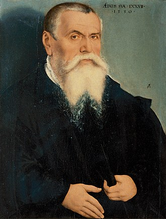 Lucas Cranach the Elder - Lucas Cranach the Elder, Portrait at age 77, c. 1550. Oil on panel, 67 × 49 cm. Uffizi Gallery, Florence