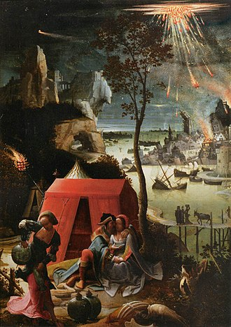 Sodom and Gomorrah - Sodom and Gomorrah being destroyed in the background of Lucas van Leyden's 1520 painting Lot and his Daughters