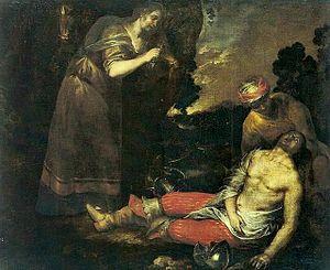 Luciano Borzone - Herminia and Vafrino Find Tancred Wounded (1635-45), Museu Nacional de Belas Artes, Rio de Janeiro.