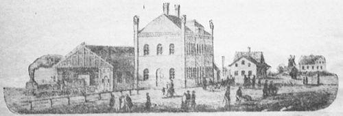 Lund C i et snit fra 1850'erne.   Læg mærke til stationsbygningen, banehallen og godsmagasinet.