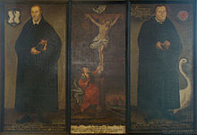 Melanchthon and Luther with Christ crucified in the middle (Source: Wikimedia)