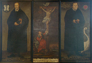 Philip Melanchthon - Melanchthon and Luther with Christ crucified in the middle