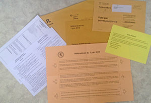 Postal voting - Ballot and other documents for postal voting for the Luxembourg constitutional referendum, 2015