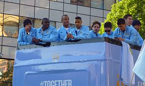Owen Hargreaves - Hargreaves (centre) on an open-top bus victory parade after Manchester City won the Premier League, 2012