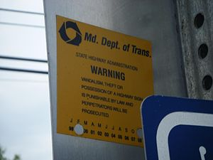 Maryland State Highway Administration - MDSHA sign sticker.