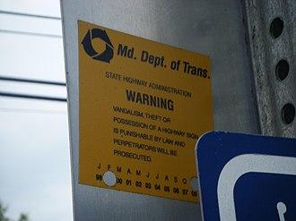 Maryland State Highway Administration - MDSHA sign sticker.