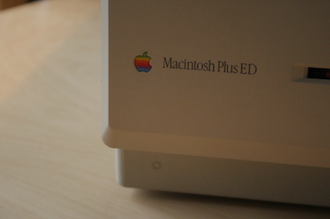 """Macintosh Plus - The """"ED"""" at the end of the model name indicates that this Macintosh was sold to the educational market."""
