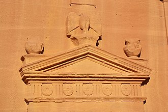 Nabataeans - Eagle on the tomb facade that represent the guardianship of Dushara against intruders at Mada'in Saleh, Hejaz, Saudi Arabia