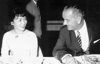 1962 South Vietnamese Independence Palace bombing - The rebel attack injured First Lady Madame Nhu (pictured left, with US Vice President Lyndon Johnson), who fell while running to the bomb shelter.