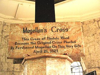 Magellan's Cross - Marker at the foot of the cross