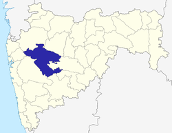 Location of Ahmednagar district in Maharashtra