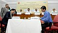 Mallikarjun Kharge and the Union Steel Minister, Shri Beni Prasad Verma witnessing the signing of agreement between Rashtriya Ispat Nigam Limited (RINL) and Indian Railways for setting up of a Forged Wheel Plant at Raebareli (1).jpg