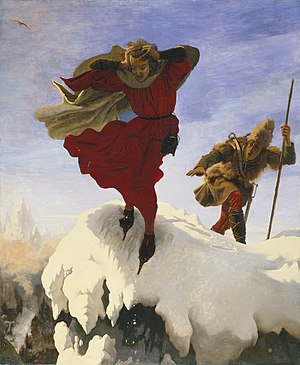 Manfred on the Jungfrau (Madox Brown) - Image: Manfred sur la Jungfrau