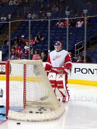 Manny Legace - Manny Legace during warmups while with the Detroit Red Wings.