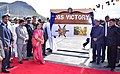 Manohar Parrikar and the Prime Minister of Mauritius, Sir Anerood Jugnauth at the Commissioning of CGS Victory the Water Jet Fast Attack Craft (WFAC) of the Coast Guard of Mauritius.jpg