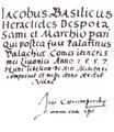 Manuscript of Iacobus Basilicus Heraclides Despota, with Christoporski's signature (Vilnius, 1563).png
