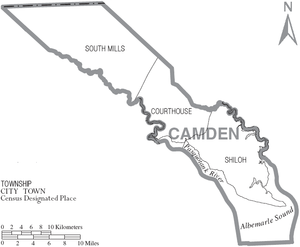 Camden County, North Carolina - Map of Camden County, North Carolina With Municipal and Township Labels