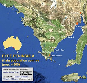 Eyre Peninsula - Eyre Peninsula towns and cities with a population of more than 500 (Australian census 2011)