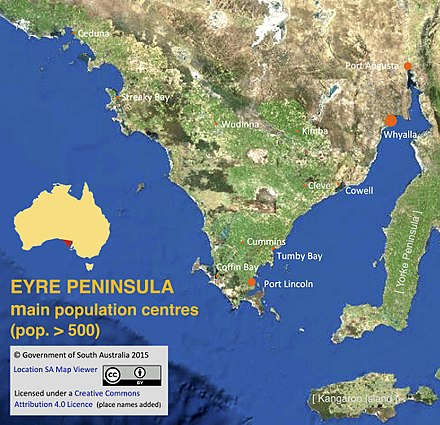 eyre peninsula towns and cities with a population of more than 500 australian census 2011