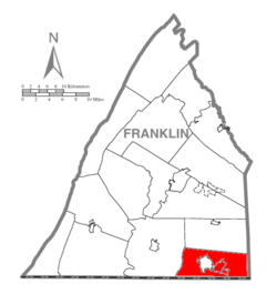 Map of Franklin County, Pennsylvania highlighting Washington Township