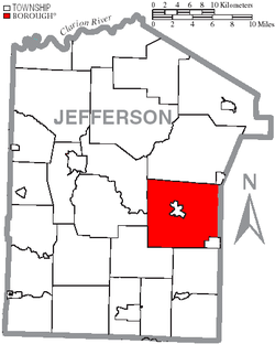 Map of Jefferson County, Pennsylvania Highlighting Winslow Township