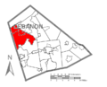 Map of Lebanon County, Pennsylvania Highlighting East Hanover Township.PNG