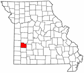 Map of Missouri highlighting Cedar County.png