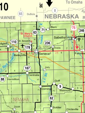 Wetmore, Kansas - Image: Map of Nemaha Co, Ks, USA