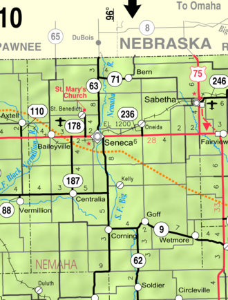 Seneca, Kansas - Image: Map of Nemaha Co, Ks, USA
