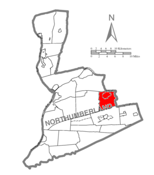 Ralpho Township, Northumberland County, Pennsylvania - Image: Map of Northumberland County Pennsylvania Highlighting Ralpho Township