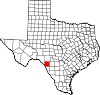 State map highlighting Kinney County