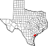 State map highlighting Refugio County