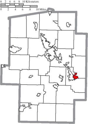Dennison, Ohio - Image: Map of Tuscarawas County Ohio Highlighting Dennison Village