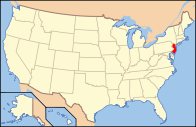 A map showing the location of New Jersey