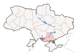 Location o Kherson Oblast (red) athin Ukraine (blue)